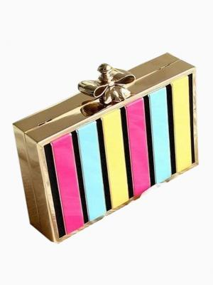 Choies 'Multicoloured Stripe Clutch Bag with Bow Lock Top'